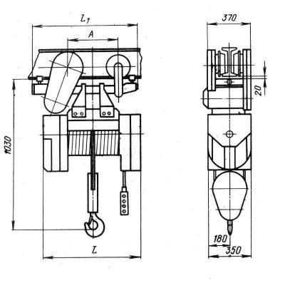 Электрическая таль 2 тн 18 м ТЭ200-531 - схема