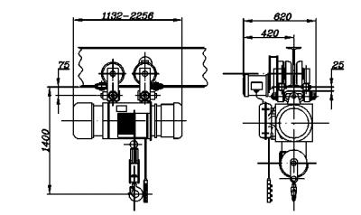 Электрическая таль 3 тн 24 м ТЭ320-541 - чертеж
