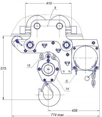 Таль ТРШБМУ 1 тн ручная цепная передвижная чертеж